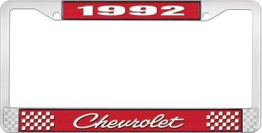 OER 1992 Chevrolet Style # 4 Red and Chrome License Plate Frame with White Lettering LF2239204C