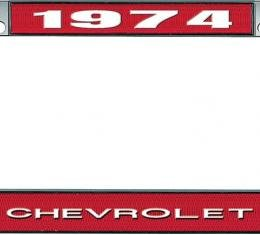 OER 1974 Chevrolet Style #1 - Red and Chrome License Plate Frame with White Lettering *LF2237401C
