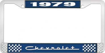 OER 1979 Chevrolet Style # 5 Blue and Chrome License Plate Frame with White Lettering LF2237905B