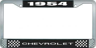 OER 1954 Chevrolet Style #1 - Black and Chrome License Plate Frame with White Lettering *LF2235401A