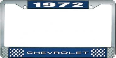 OER 1972 Chevrolet Style # 1 Blue and Chrome License Plate Frame with White Lettering LF2237201B