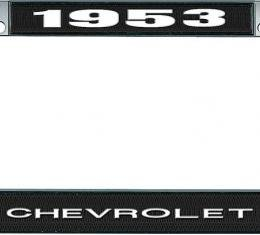 OER 1953 Chevrolet Style #1 Black and Chrome License Plate Frame with White Lettering LF2235301A