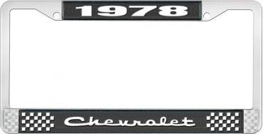 OER 1978 Chevrolet Style # 2 Black and Chrome License Plate Frame with White Lettering LF2237802A