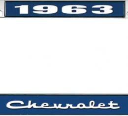OER 1963 Chevrolet Style #2 Blue and Chrome License Plate Frame with White Lettering LF2236302B
