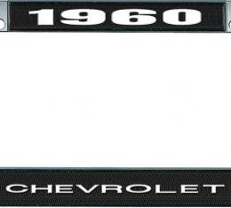 OER 1960 Chevrolet Style #1 - Black and Chrome License Plate Frame with White Lettering *LF2236001A