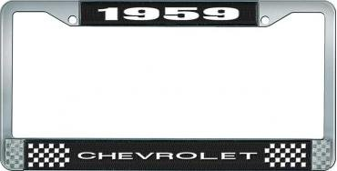OER 1959 Chevrolet Style #1 Black and Chrome License Plate Frame with White Lettering LF2235901A