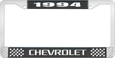 OER 1994 Chevrolet Style # 3 Black and Chrome License Plate Frame with White Lettering LF2239403A
