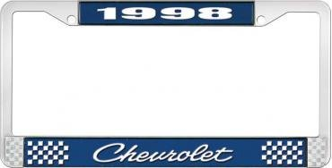 OER 1998 Chevrolet Style # 4 Blue and Chrome License Plate Frame with White Lettering LF2239804B