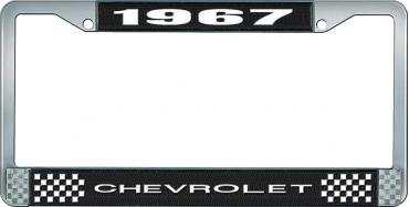 OER 1967 Chevrolet Style #1 Black and Chrome License Plate Frame with White Lettering LF2236701A