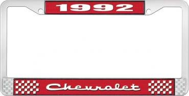 OER 1992 Chevrolet Style # 2 Red and Chrome License Plate Frame with White Lettering LF2239202C