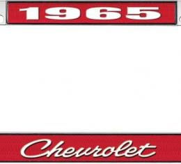 OER 1965 Chevrolet Style #4 - Red and Chrome License Plate Frame with White Lettering *LF2236504C