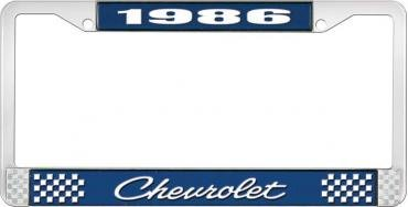 OER 1986 Chevrolet Style #4 - Blue and Chrome License Plate Frame with White Lettering *LF2238604B