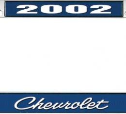 OER 2002 Chevrolet Style #4 - Blue and Chrome License Plate Frame with White Lettering LF2230204B