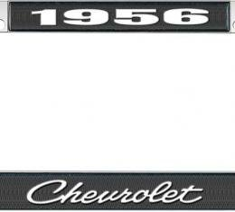 OER 1956 Chevrolet Style #4 Black and Chrome License Plate Frame with White Lettering LF2235604A