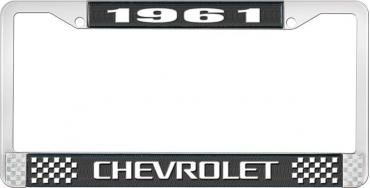OER 1961 Chevrolet Style #3 Black and Chrome License Plate Frame with White Lettering LF2236103A