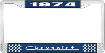OER 1974 Chevrolet Style # 5 Blue and Chrome License Plate Frame with White Lettering LF2237405B