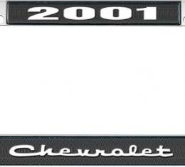 OER 2001 Chevrolet Style #2 - Black and Chrome License Plate Frame with White Lettering *LF2230102A