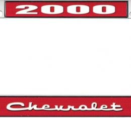 OER 2000 Chevrolet Style #2 Red and Chrome License Plate Frame with White Lettering *LF2230002C