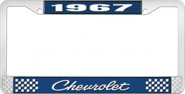 OER 1967 Chevrolet Style #4 Blue and Chrome License Plate Frame with White Lettering LF2236704B