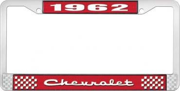 OER 1962 Chevrolet Style #2 Red and Chrome License Plate Frame with White Lettering LF2236202C