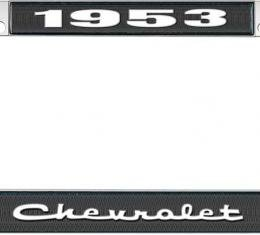 OER 1953 Chevrolet Style #2 Black and Chrome License Plate Frame with White Lettering LF2235302A