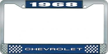 OER 1968 Chevrolet Style #1 Blue and Chrome License Plate Frame with White Lettering LF2236801B