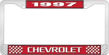 OER 1997 Chevrolet Style # 3 Red and Chrome License Plate Frame with White Lettering LF2239703C