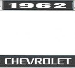 OER 1962 Chevrolet Style #3 Black and Chrome License Plate Frame with White Lettering LF2236203A