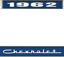 OER 1962 Chevrolet Style #5 - Blue and Chrome License Plate Frame with White Lettering *LF2236205B