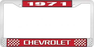 OER 1971 Chevrolet Style # 3 Red and Chrome License Plate Frame with White Lettering LF2237103C