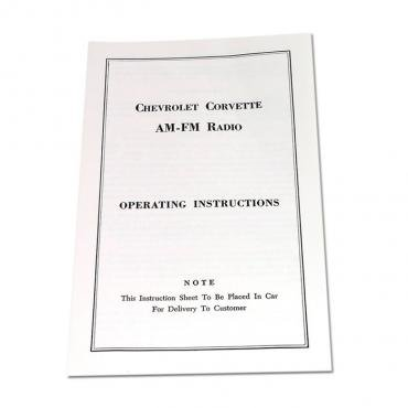 Corvette Instructions, Radio AM/FM, 1963