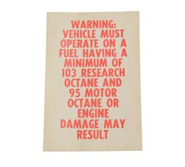 Corvette Decal, Octane Warning L88, 1967-1969
