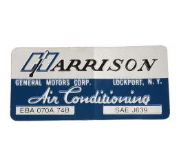 Corvette Decal, Air Conditioning Foil Plate, 1974