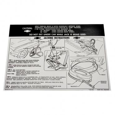 Corvette Decal, Jacking Instruction, 1963-1964