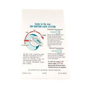 Corvette Instructions, Start & Interlock, 1969