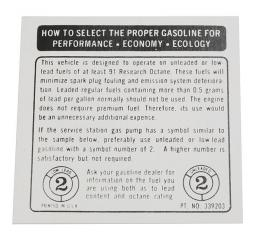 Corvette Decal, Fuel Recommendations, 1973-1974