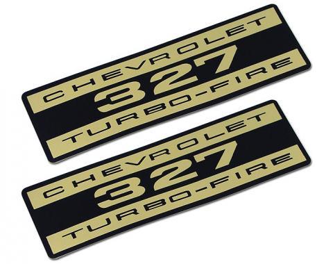 Corvette Decals, Valve Cover Chevrolet 327 Turbo Fire Foil, 1962-1965
