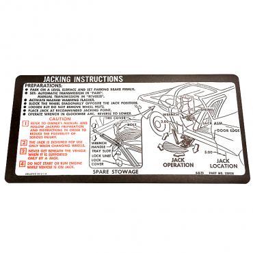 Corvette Decal, Jacking Instruction, 1973-1974