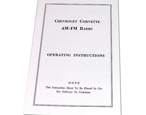 Corvette Instructions, Radio AM/FM, 1965-1967