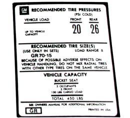 Corvette Decal, Tire Pressure on Door, 1976-1977