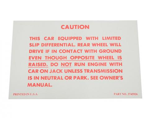 Corvette Decal, Positraction, 1957-1958