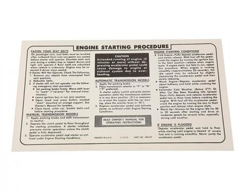 Corvette Instructions, Engine Start Procedure, 1974-1975