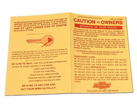 Corvette Card, Engine Break-In, 1956-1960