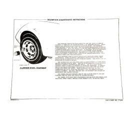 Corvette Instructions, Aluminum Wheel, 1976-1978