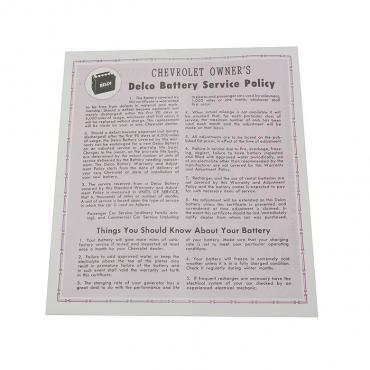 Corvette Card, Battery Warranty, 1956-1961