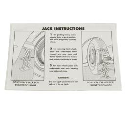 Corvette Decal, Jacking Instruction, 1953-1960