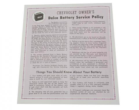 Corvette Card, Battery Warranty, 1956-1961