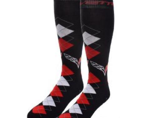 Corvette Argyle Crew Socks