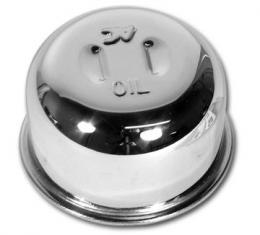 Corvette Oil Cap, Unvented with Solid Lifters, Chrome, 1962